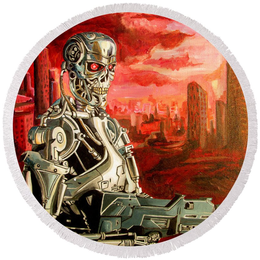 T800 Round Beach Towel featuring the painting Terminator T800 by Jose Mendez