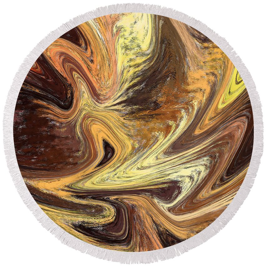 Abstract Round Beach Towel featuring the painting Terrestrial Fire Abstract by Irina Sztukowski