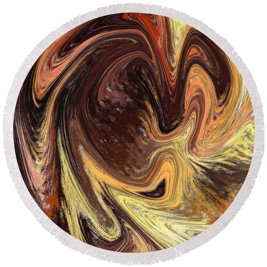 Abstract Round Beach Towel featuring the painting Terrestrial Vortex Abstract by Irina Sztukowski