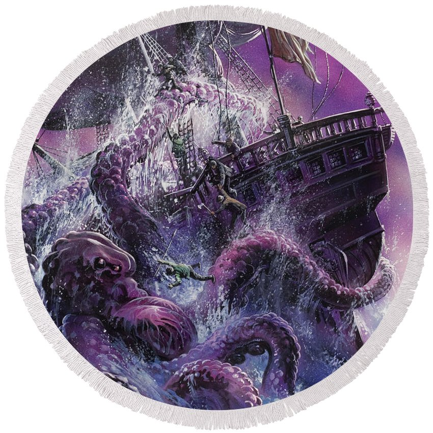 Fear; Ship; Sea Monster; Wave; Ocean; Water; Purple; Disaster; Mystery; Legend; Sea Monster; Beast; Tentacles; Mast; Sail; Pieuvre; Geante; Danger; Perilous; Purple Round Beach Towel featuring the painting Terror From The Deep by Oliver Frey