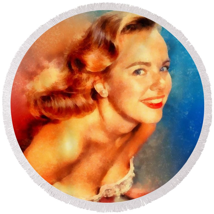 Hollywood Round Beach Towel featuring the painting Terry Moore, Vintage Hollywood Actress by Frank Falcon