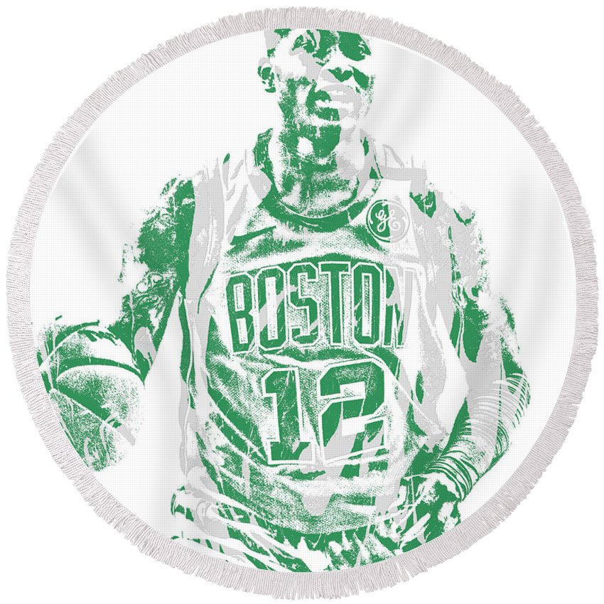 Terry Rozier Round Beach Towel featuring the mixed media Terry Rozier Boston Celtics Pixel Art 11 by Joe Hamilton