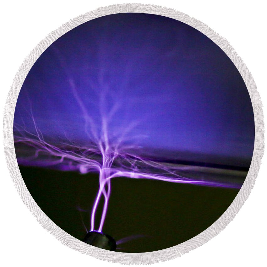 Science Round Beach Towel featuring the photograph Tesla Coil by Science Source