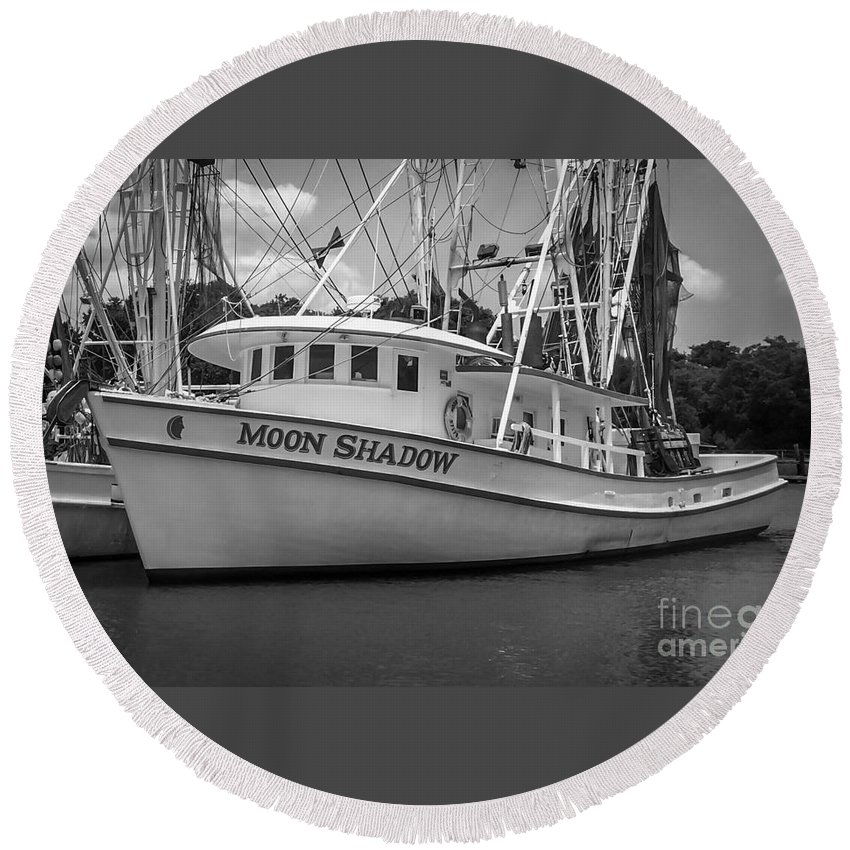 Moon Shadow Round Beach Towel featuring the photograph Moon Shadow Working Boat by Dale Powell