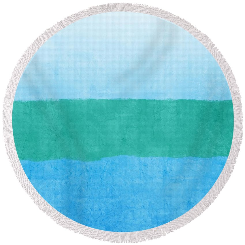 Blue Round Beach Towel featuring the photograph Test by Linda Woods