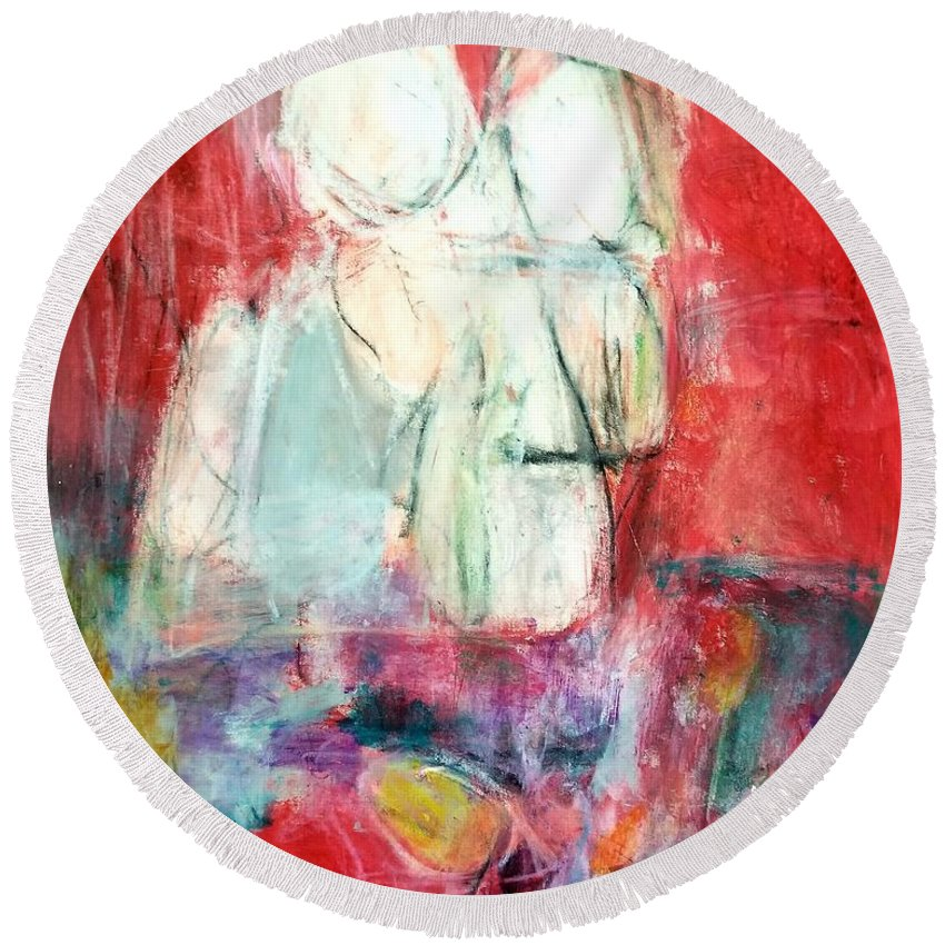 Red Round Beach Towel featuring the painting Tete-a-tete by Patricia Byron