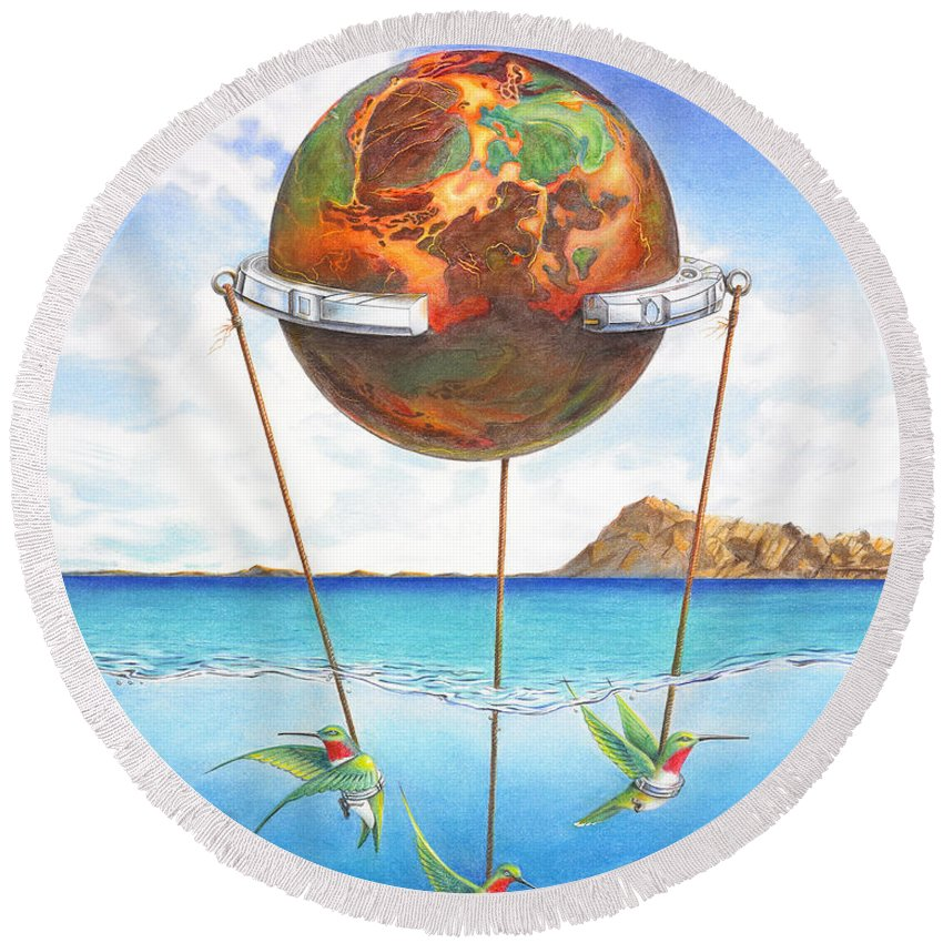 Surreal Round Beach Towel featuring the painting Tethered Sphere by Melissa A Benson