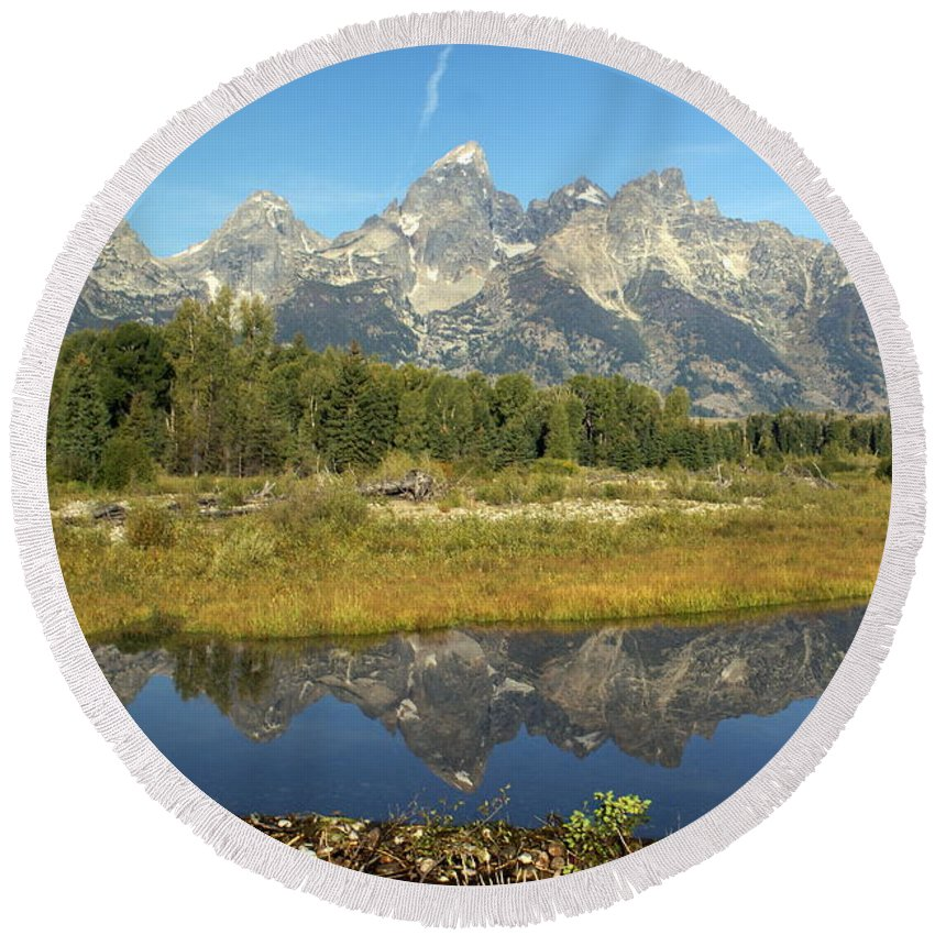 Grand Teton National Park Round Beach Towel featuring the photograph Teton 5 by Marty Koch