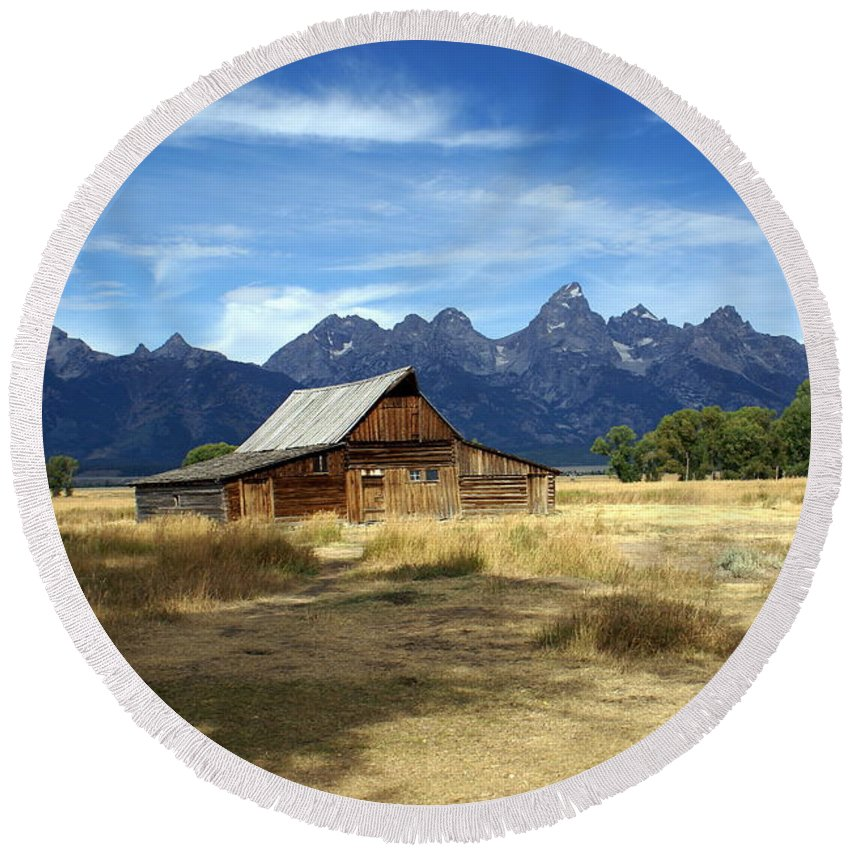 Grand Teton National Park Round Beach Towel featuring the photograph Teton Barn 3 by Marty Koch