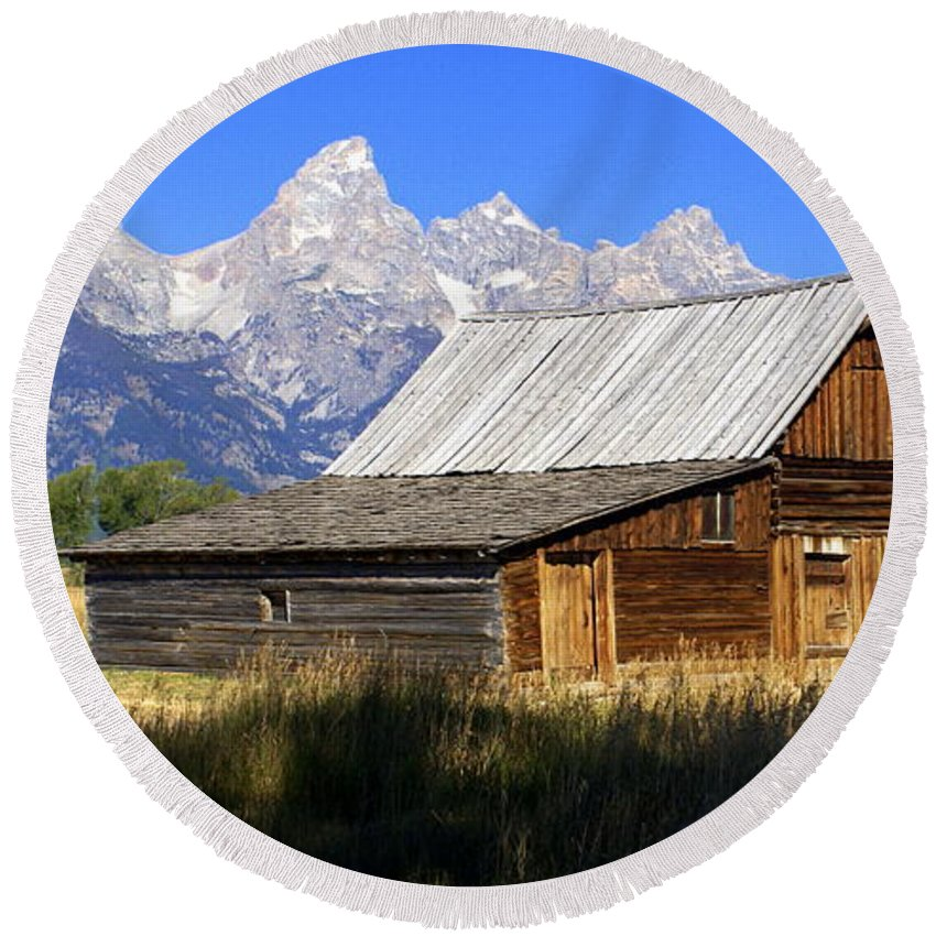 Grand Teton National Park Round Beach Towel featuring the photograph Teton Barn 5 by Marty Koch