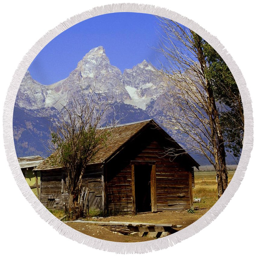 Grand Teton National Park Round Beach Towel featuring the photograph Teton Cabin by Marty Koch