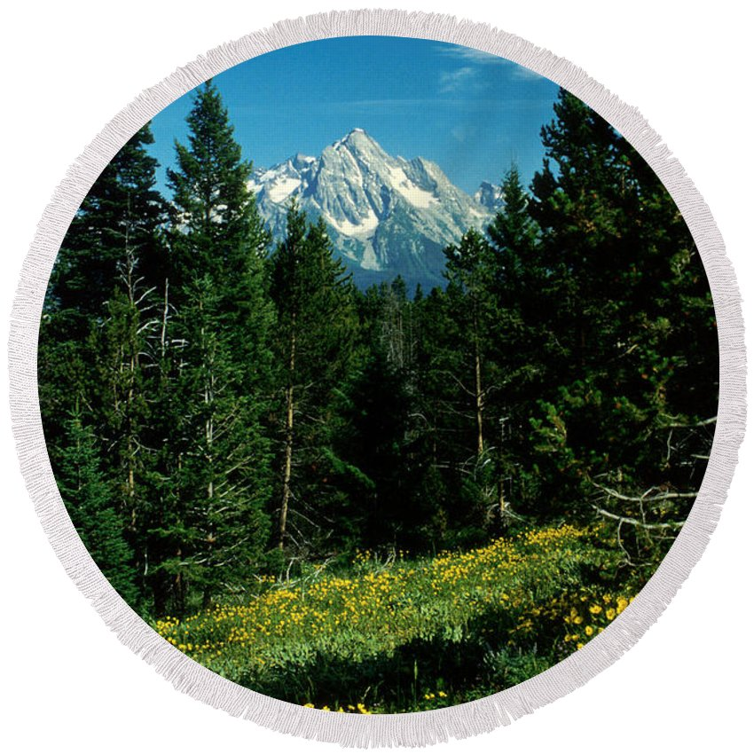 Wyoming Round Beach Towel featuring the photograph Teton Meadow by Jerry McElroy