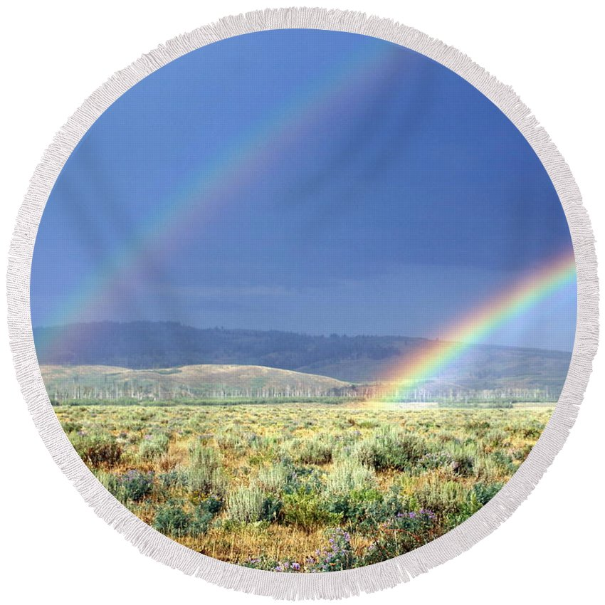 Grand Teton National Park Round Beach Towel featuring the photograph Teton Rainbow by Marty Koch