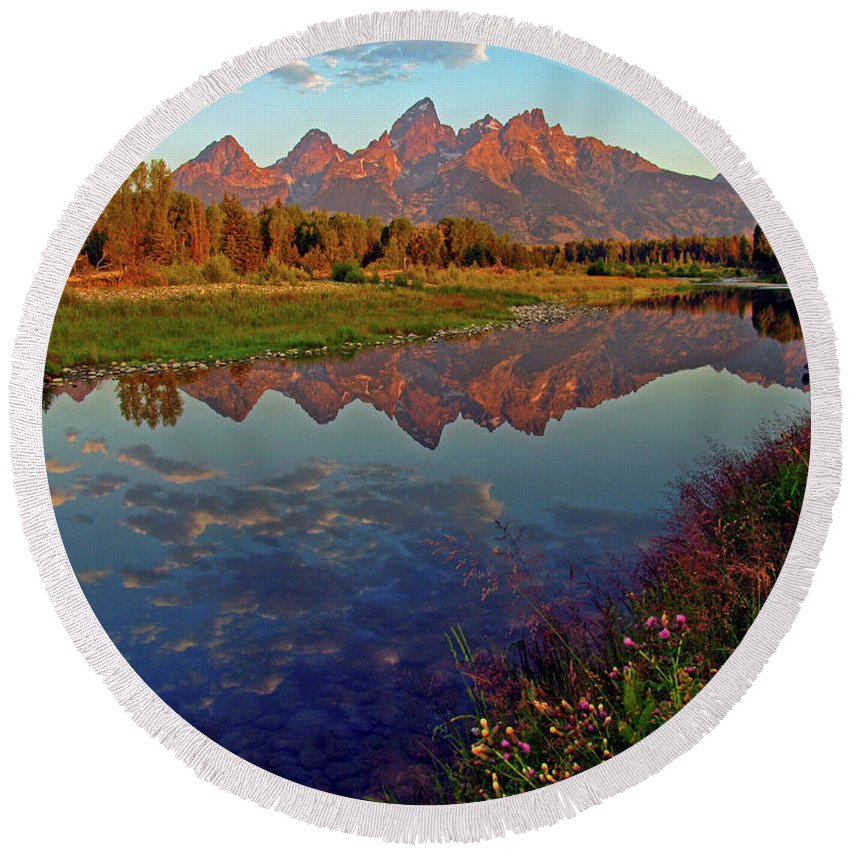 Mountains Round Beach Towel featuring the photograph Teton Wildflowers by Scott Mahon