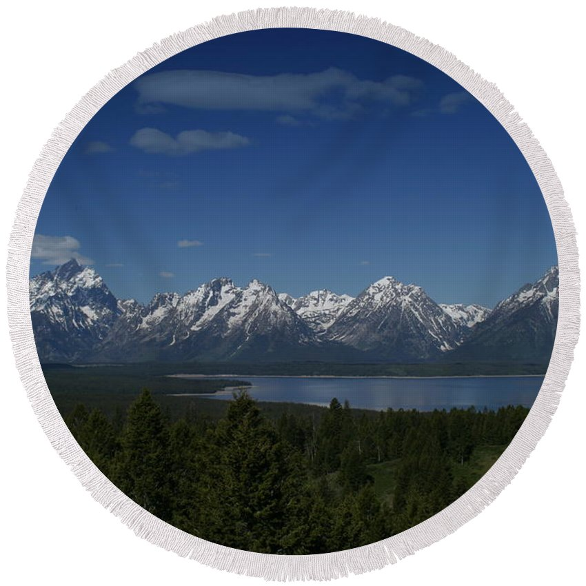 Mountains Round Beach Towel featuring the photograph Tetons In Blue by Shari Jardina