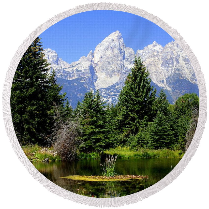 Grand Teton National Park Round Beach Towel featuring the photograph Tetons by Marty Koch