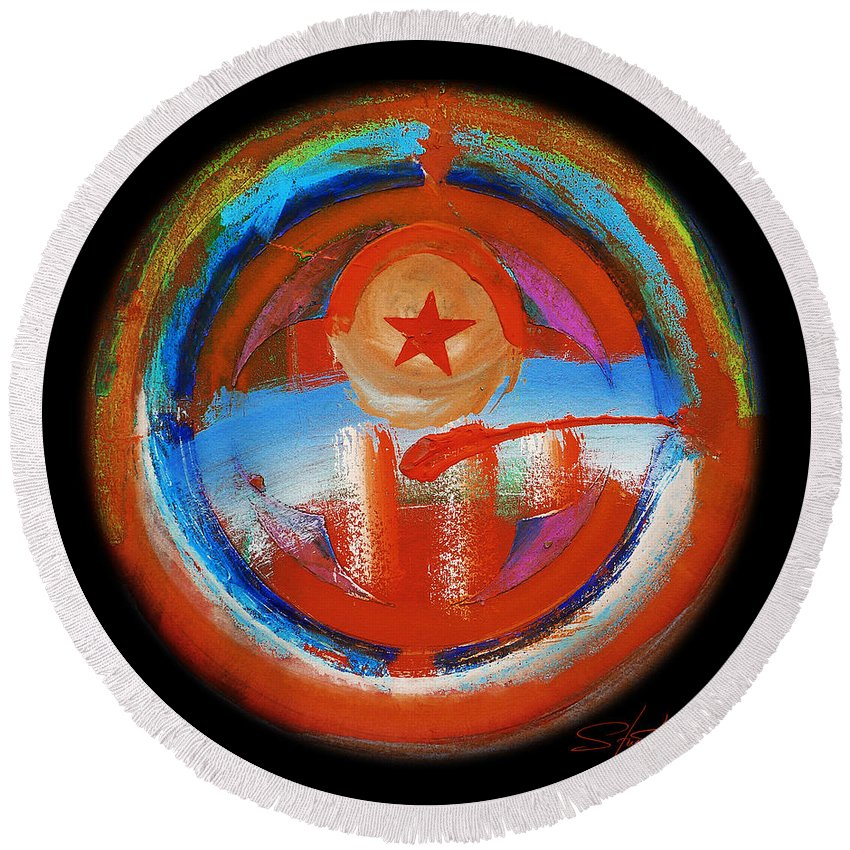 Red Star Round Beach Towel featuring the painting Texacola by Charles Stuart