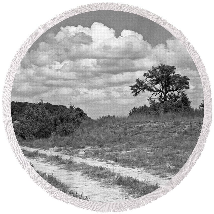 Texas Hill Country Round Beach Towel featuring the photograph Texas Hill Country Trail by Jim Smith