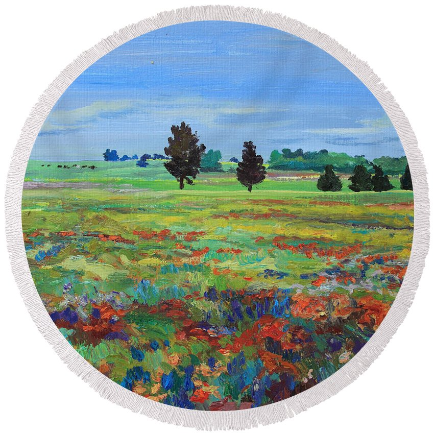 Painting Round Beach Towel featuring the painting Texas Landscape Bluebonnet Indian Paintbrush Explosion by Maris Salmins