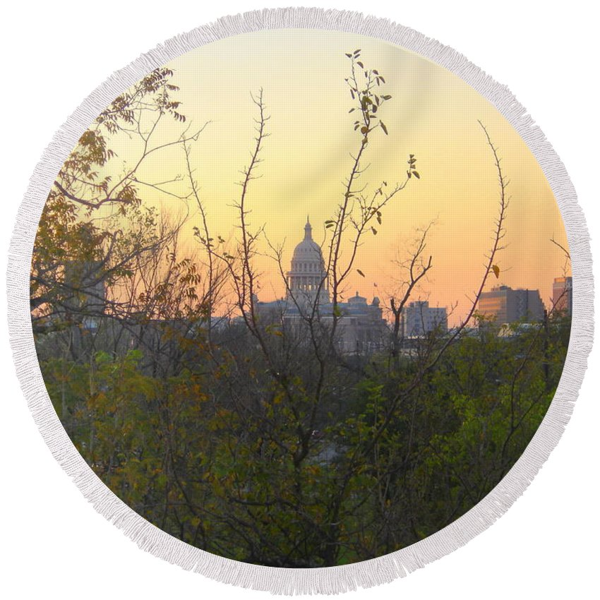 Texas Round Beach Towel featuring the photograph Texas State Capital From Far East Austin by Rose Cooper