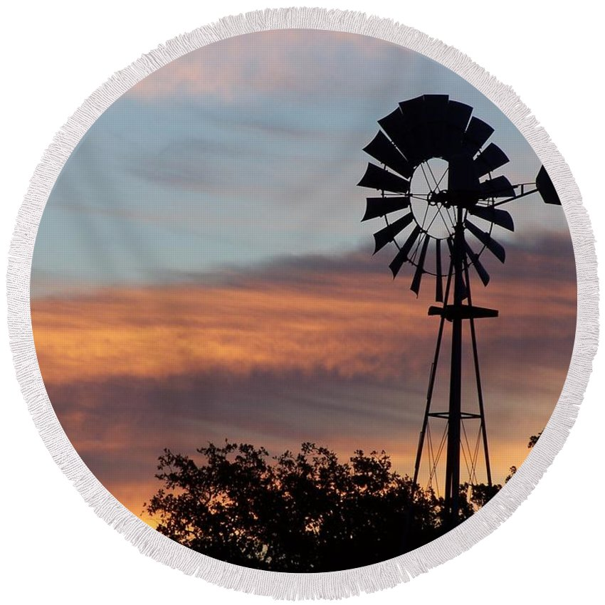Windmill Round Beach Towel featuring the photograph Texas Sunrise by Gale Cochran-Smith