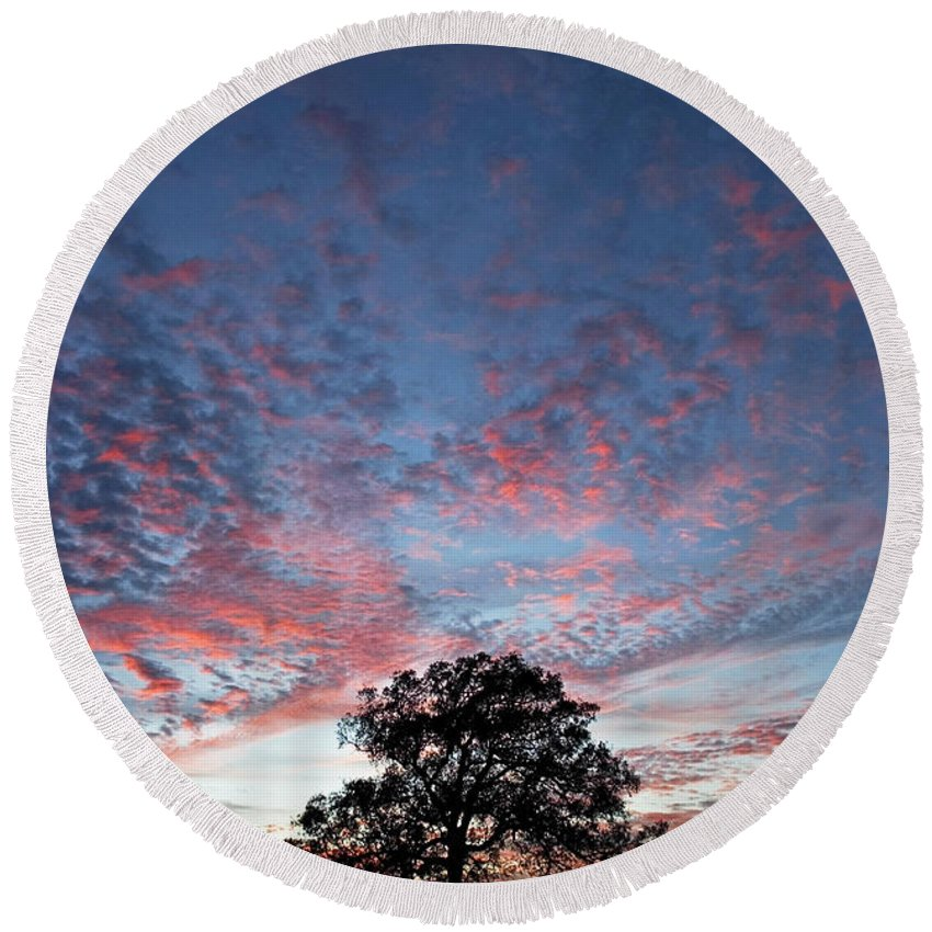 Tree Round Beach Towel featuring the photograph Texas Sunset by Skip Hunt