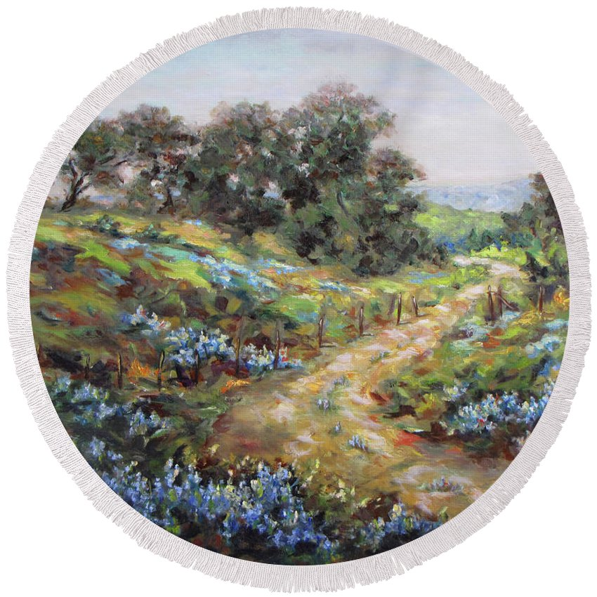 Bluebonnets Round Beach Towel featuring the painting Texas Trail by Brenda Brannon