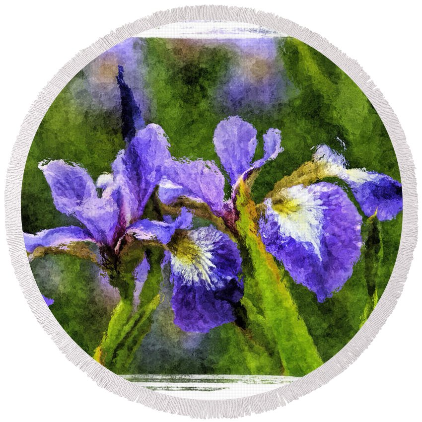 Recent Round Beach Towel featuring the photograph Textured Bearded Irises by Geraldine Scull
