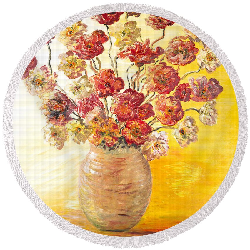 Flowers Round Beach Towel featuring the painting Textured Flowers In A Vase by Nadine Rippelmeyer