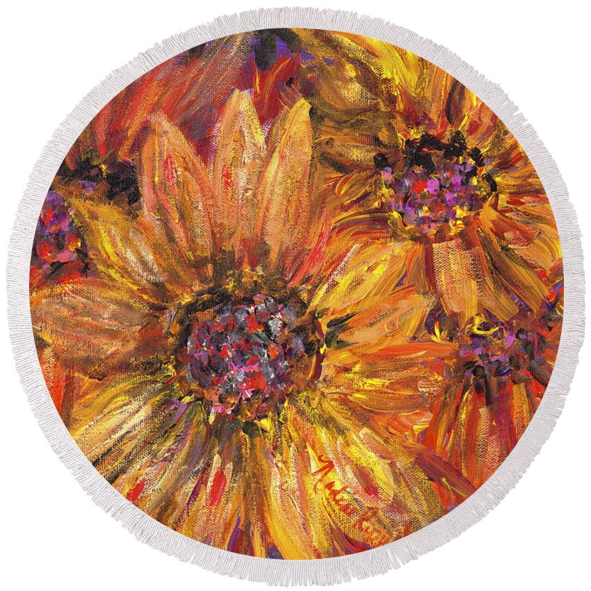 Yellow Round Beach Towel featuring the painting Textured Gold And Red Sunflowers by Nadine Rippelmeyer