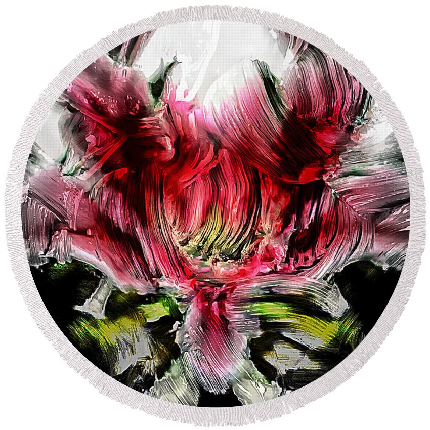 Abstract Round Beach Towel featuring the painting Textured Lily by Jolanta Anna Karolska