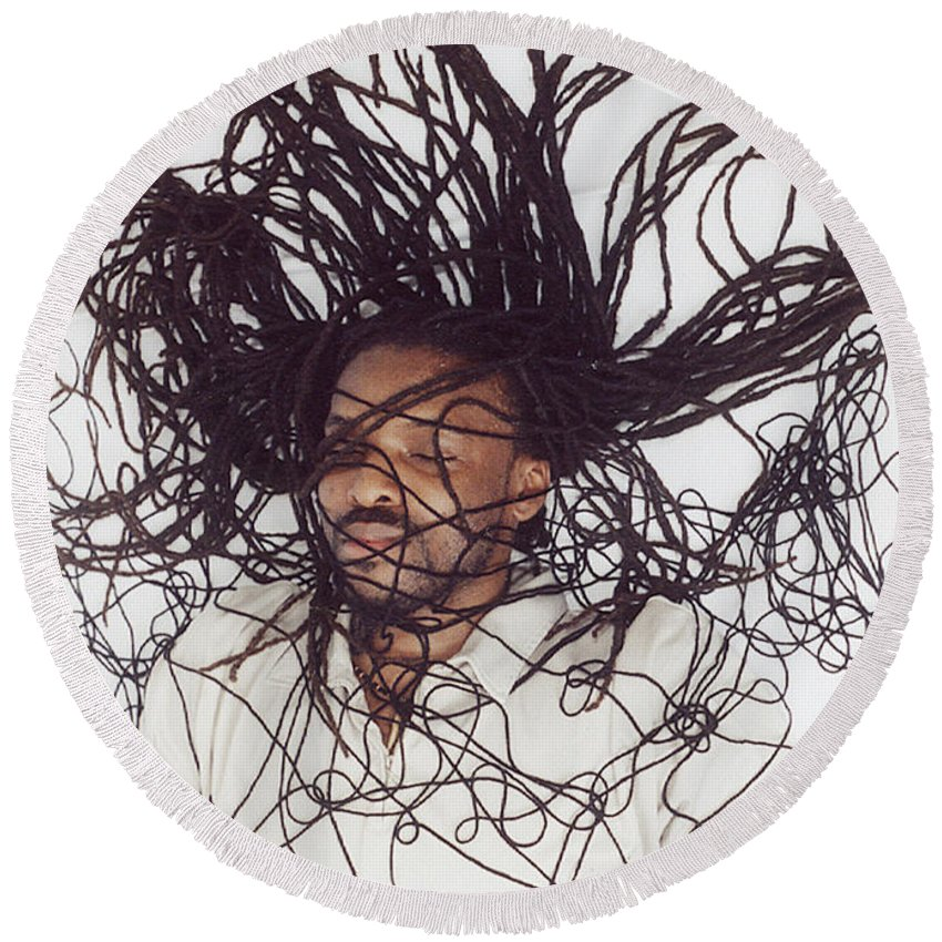 African-american Round Beach Towel featuring the photograph Textured Locs by Unicia Buster