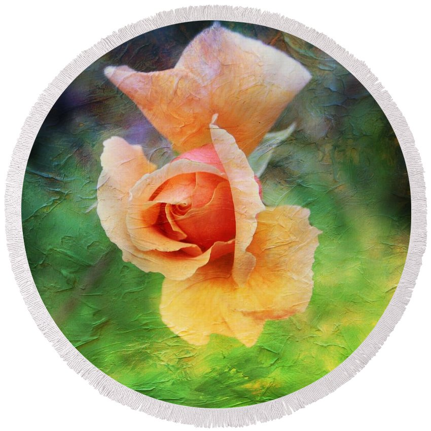 Rose Round Beach Towel featuring the photograph Textured Rose 3 by Mo Barton
