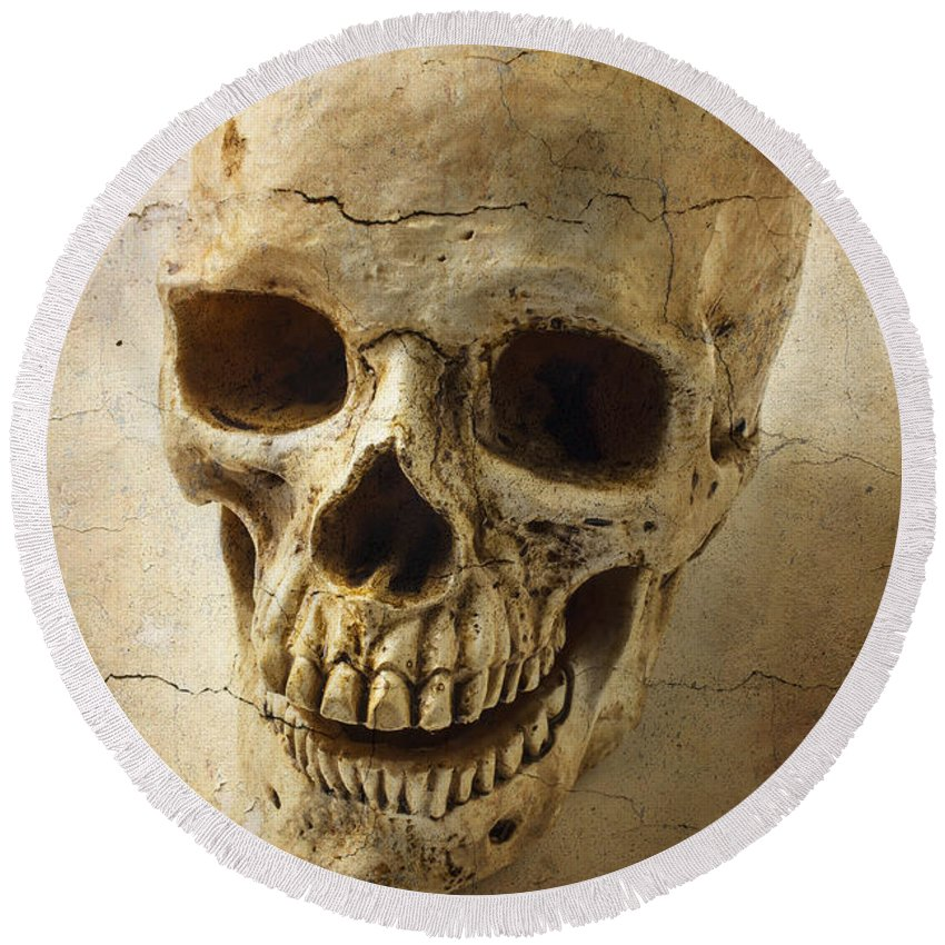 Skull Round Beach Towel featuring the photograph Textured Skull by Garry Gay