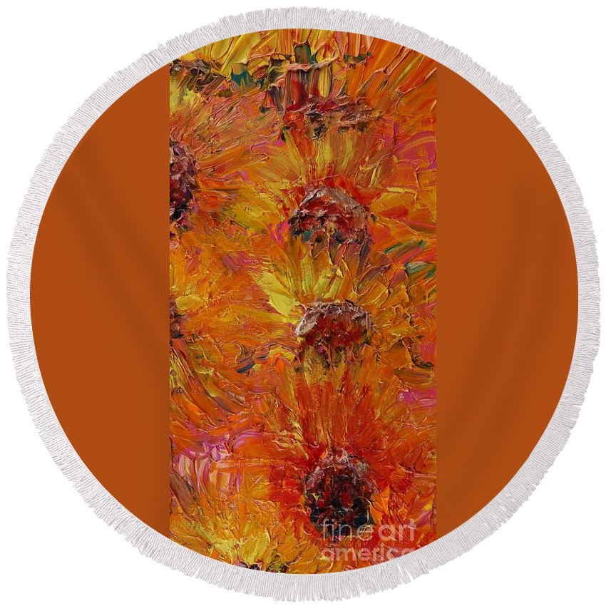 Sunflowers Round Beach Towel featuring the painting Textured Sunflowers by Nadine Rippelmeyer
