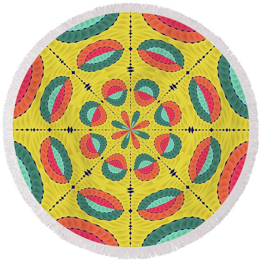 Mandala Round Beach Towel featuring the digital art Textured Tropical Mandala by Gaspar Avila