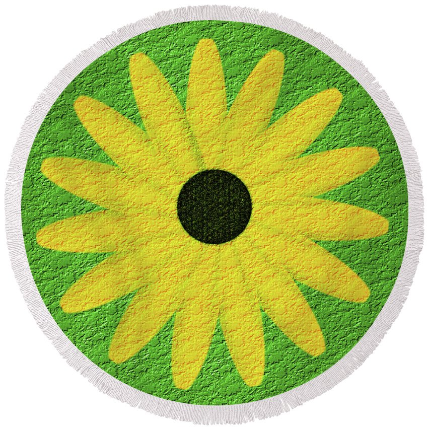 Flower Round Beach Towel featuring the digital art Textured Yellow Daisy by Smilin Eyes Treasures
