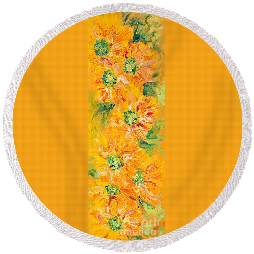 Yellow Round Beach Towel featuring the painting Textured Yellow Sunflowers by Nadine Rippelmeyer