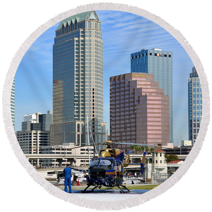 Tampa General Hospital Rescue Copter Round Beach Towel featuring the photograph Awaiting The Call by David Lee Thompson