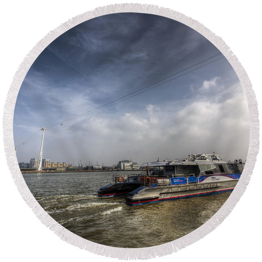 Thames Clipper Round Beach Towel featuring the photograph Thames Clipper And Cable Car by David Pyatt