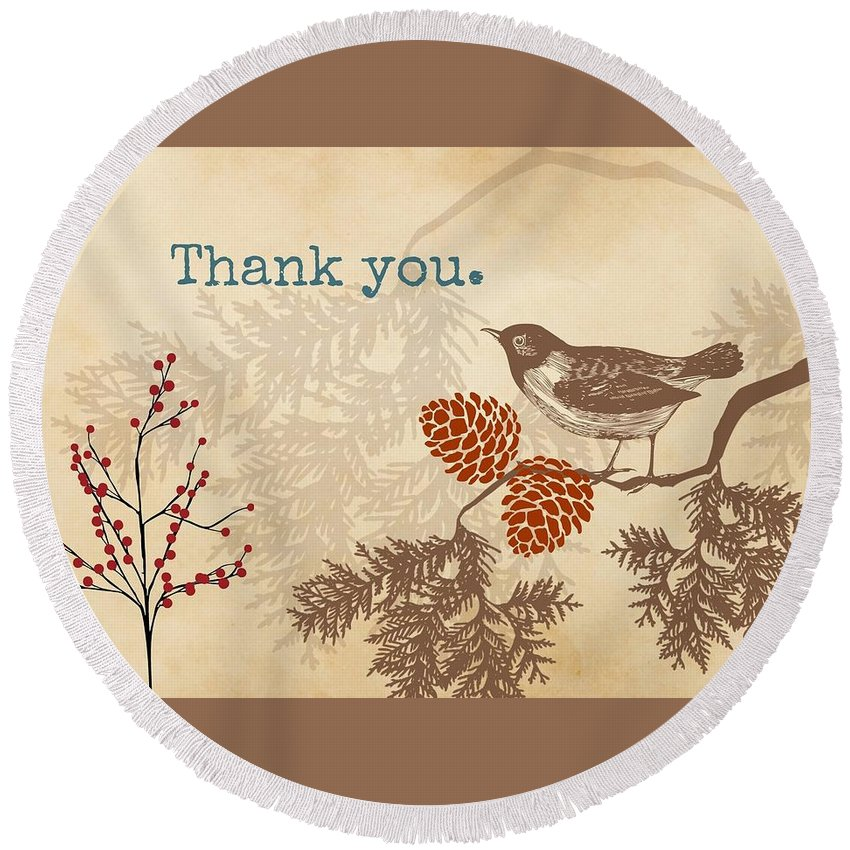 Thank You Round Beach Towel featuring the digital art Thanks by Amanda Johnson