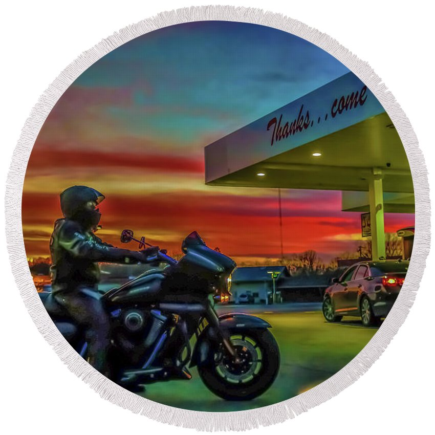 Motorcycle Round Beach Towel featuring the photograph Thanks...come Again by Chad Fuller