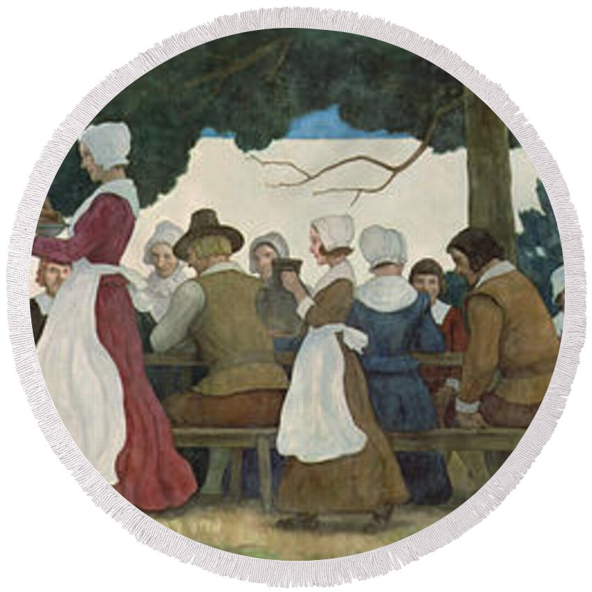 Thanksgiving Round Beach Towel featuring the painting Thanksgiving Banquet by Newell Convers Wyeth