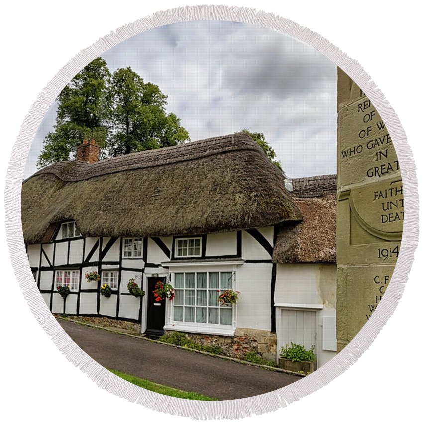 Cottage Round Beach Towel featuring the photograph Thatched Cottages Of Hampshire 12 by Shirley Mitchell