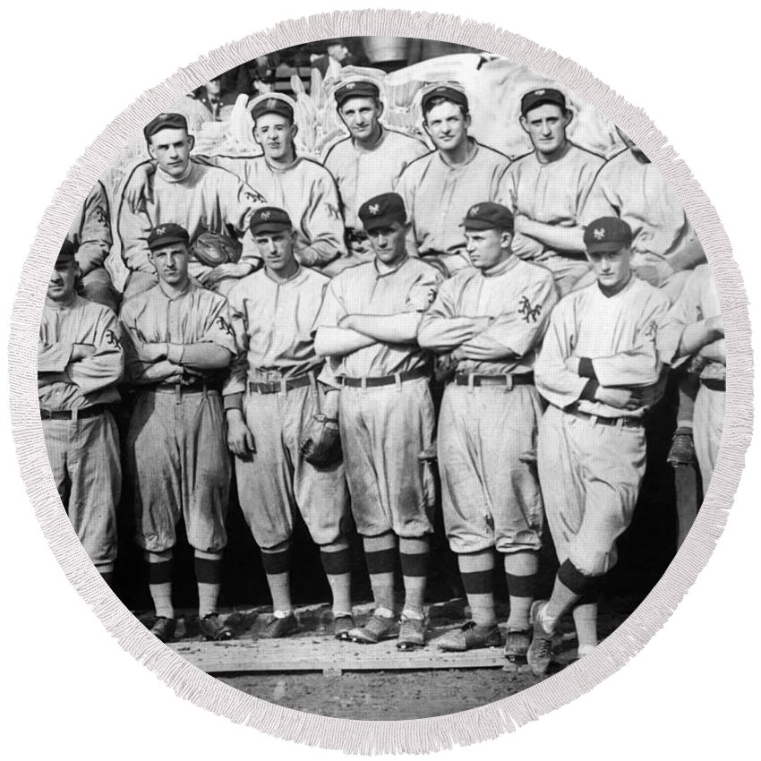 new York Giants Round Beach Towel featuring the photograph The 1911 New York Giants Baseball Team by International Images