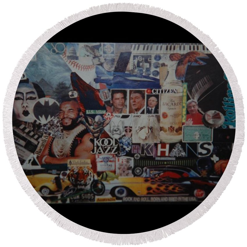 Abstract Round Beach Towel featuring the photograph The 80 S Collage by Rob Hans