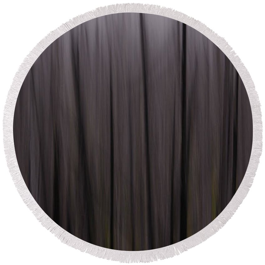 Abstract Round Beach Towel featuring the photograph Forest Illusions- Darkwood by Whispering Peaks Photography