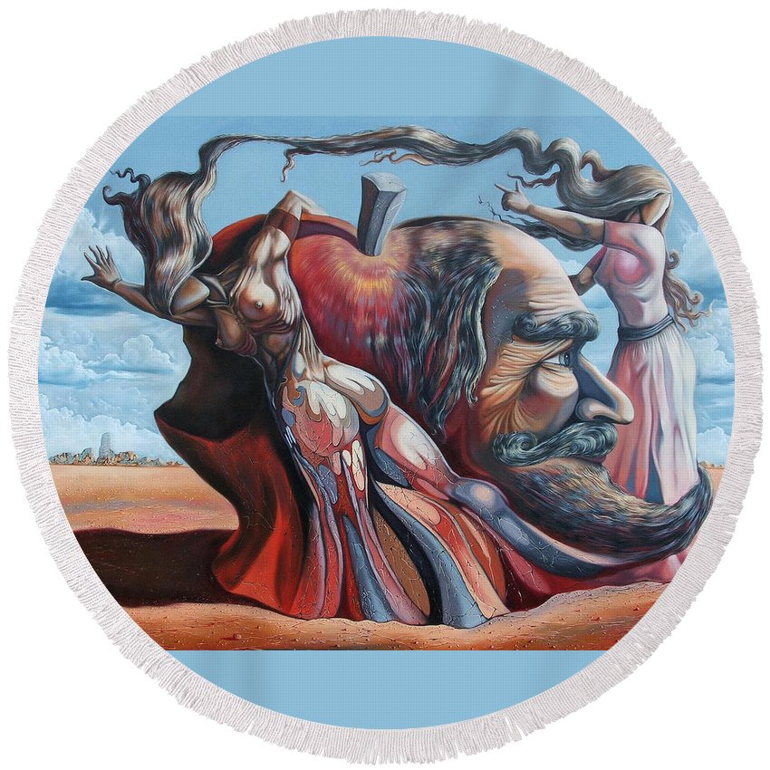 Surrealism Round Beach Towel featuring the painting The Adam-eve Delusion by Darwin Leon