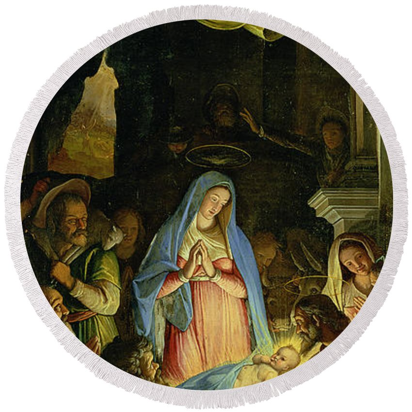 Christmas Round Beach Towel featuring the painting The Adoration Of The Shepherds by Federico Zuccaro