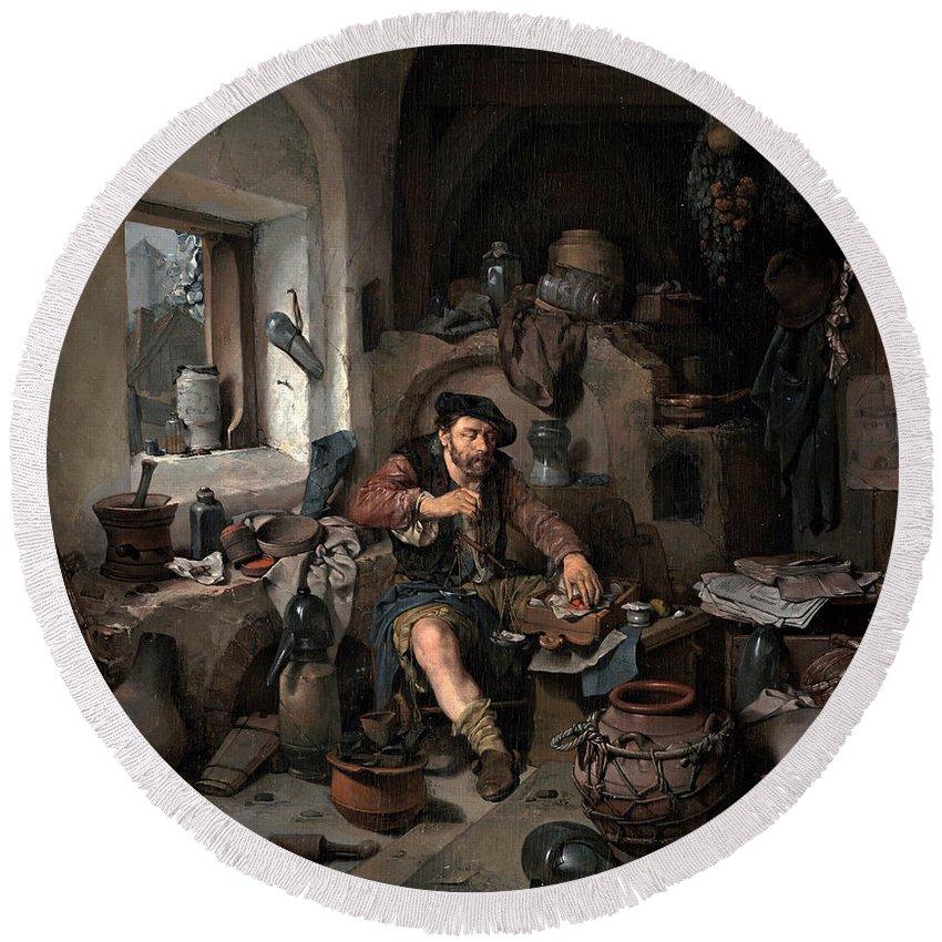 Cornelis Bega Round Beach Towel featuring the painting The Alchemist by Cornelis Bega